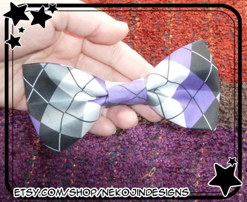 9b45b7c47e918 Asexual Pride Bow - queer ase ace demi demisexual handmade argyle pride  flag hair clip bow tie accessory
