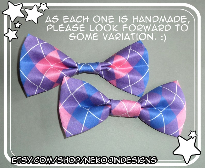 7b9e9e78cb1ef Bisexual Pride Bow Tie / Hair Clip - queer clothing accessory bi handmade  argyle pride flag clip on bowtie hairclip gender neutral
