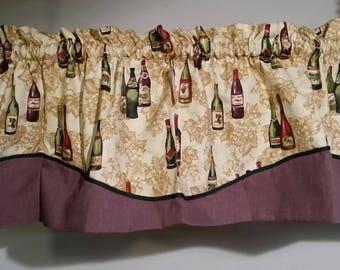 Wine bottle print valance