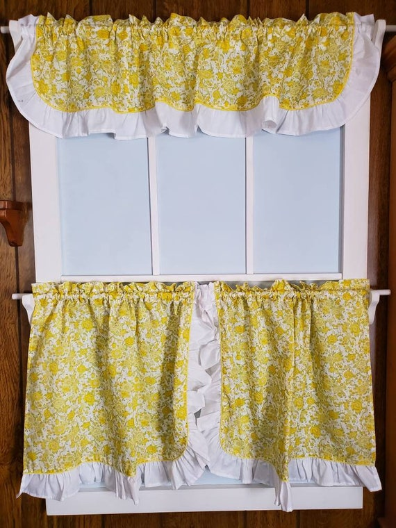 Kitchen Curtains With Valance Retro, Yellow Ruffle Curtains