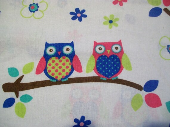 BTY Couple O Owls on Branches Bright Colorful from JoAnns Cotton Fabric