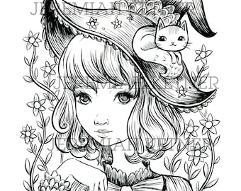 Lovely Witch - Coloring Page - Instant Download
