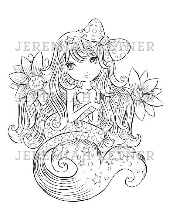 Cute Mermaid Jeremiah Ketner Coloring Page Instant Etsy