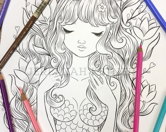 Golden Mermaid - Coloring Page by Jeremiah Ketner