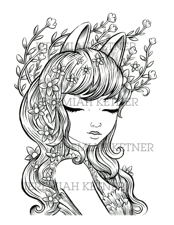 Unicorn Ears Coloring Page Instant Download | Etsy