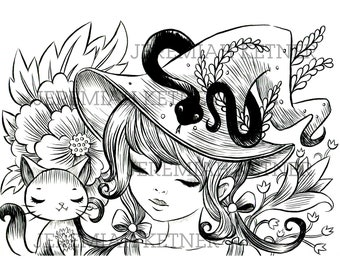 The Witches Cat - Coloring Page - Instant Download