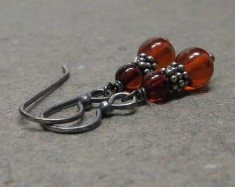 Amber Earrings Orange Gemstones Oxidized Sterling Silver Earrings Amber Beads