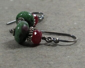 Ruby Zoisite Earrings Ruby Gemstones Oxidized Sterling Silver July Birthstone Gift for Wife