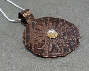 Etched Flower Necklace Copper, Sterling Silver, Gold Mixed Metal Riveted Pearl Pendant Gift for Mom