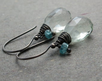 Green Amethyst Earrings Aqua Apatite Briolette  Oxidized Sterling Silver Large Gemstones