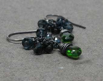 Chrome Diopside Earrings Emerald Green London Blue Topaz Cluster Oxidized Sterling Silver