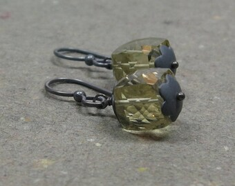 Lemon Yellow Quartz Earrings Geometric Jewelry Minimalist Oxidized Sterling Silver Gemstone Cubes
