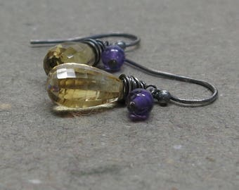 Citrine, Amethyst Earrings November, February Birthstone Oxidized Sterling Silver Gift for Her