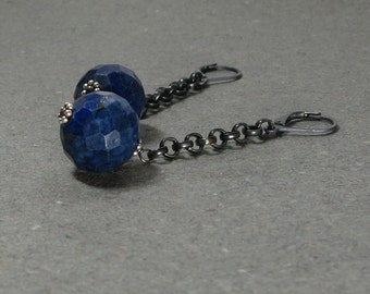 Lapis Lazuli Earrings Royal Blue Large Gemstones Chain Dangle Oxidized Sterling Silver Leverback Earrings Gift for Her