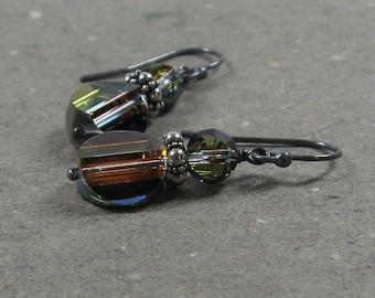Rainbow Crystal Earrings Raised Disk Oxidized Sterling Silver