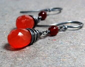 Carnelian Earrings Orange Gemstones Oxidized Sterling Silver Earrings Gift for Her