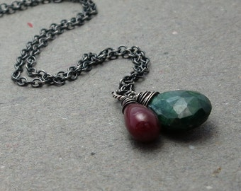 Emerald, Ruby Necklace May, July Birthstone Pendant Oxidized Sterling Silver Holiday Jewelry