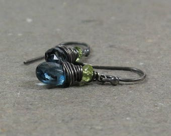 London Blue Topaz Earrings Peridot December, August Birthstone Oxidized Sterling Silver Gift for Her