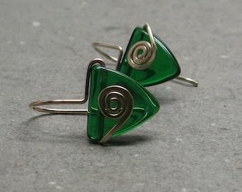 Emerald Green Triangle Earrings Geometric Jewelry Gold Spiral Earrings Gift for Mom