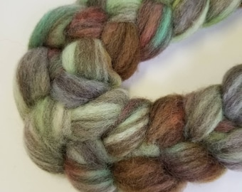 BFL Hand dyed roving Cradle Song wool spinning fiber Blue Faced Leicester 6.2 ounces