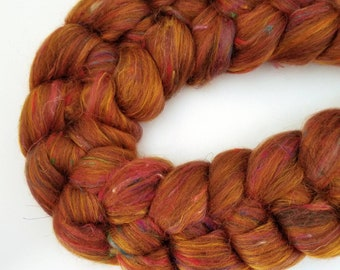 Silk Road Blend top spinning fiber merino sari silk bamboo roving SPICE MARKET 4 oz.