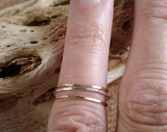 Delicate Thin Stacking Rings In Sterling Silver & 14K gold filled Set of 3