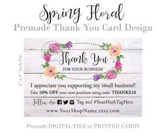 Thank You Order Cards, Package Inserts for Small Business, Rustic Wreath Wood Floral Postcard, Shabby Chic, Digital File or Printed Cards