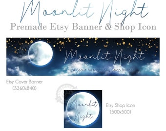 Etsy Banner and Shop Icon Design Set with Dark Blue Night Sky, Moon, Gold Stars and Clouds, Cover Photos for Handmade Artists