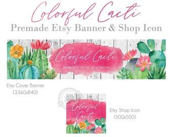 Cactus Etsy Shop Banner Set Watercolor Succulent Greenery DIY Etsy Branding Kit Editable Instant Download #048