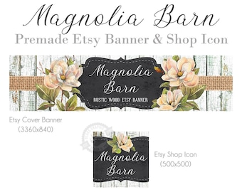 Shop Banner Design Set with Magnolia Flowers, Burlap Ribbon and Rustic White Painted Wood for Shabby Chic, Wreath Makers, Cover Photo
