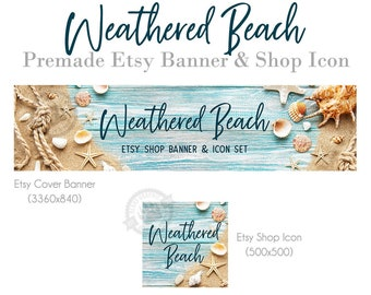 Beach Shop Banner for Etsy with Rustic Wood Background Sand Seashells Rope and Starfish, Etsy Design Set, Store Cover Photo and Icon Kit