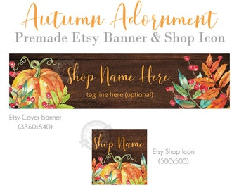 Thanksgiving Shop Banners for Etsy Stores with Pumpkins, Autumn Leaves, Berries and Wood, Fall Farmhouse Cover Photo Banners