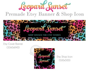 Leopard Etsy Shop Banner with Colorful Rainbow Abstract Animal Print, Retro Wild Sunset Color Store Banner, Graphics for Etsy Sellers