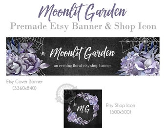 Shop Banner Design for Etsy with Purple Watercolor Flowers, Spider Webs, Hydrangeas Roses and a Chalkboard Background, Autumn Fall Night