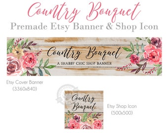 Rustic Shop Banner and Icon Kit for Etsy in a Country Design with Barn Wood and Watercolor Roses, Farmhouse Shabby Chic Store Cover Banners