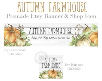 Shop Big Banner Sets for Etsy Stores, Autumn Farmhouse Design for Thanksgiving with Neutral Pumpkins, Leaves and White Shiplap, Cover Photos