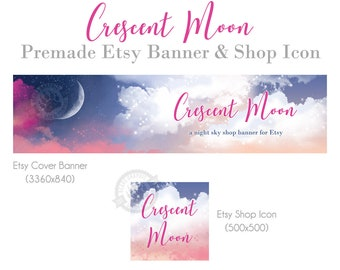 Moon Shop Banner and Icon Set for Etsy with a Crescent Moonlit Night Sky and Clouds in Blue and Pink