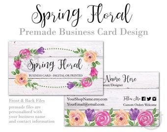 Spring Business Card Design perfect for Florists and Wreath Makers, Shabby Chic, Rustic Wood, Floral Farmhouse, Printing or Digital Files
