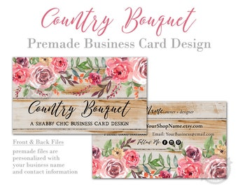 Business Card Design with Rustic Barn Wood and Pink Country Roses, Southern Farmhouse Style Biz Card Template, Customized, Printed Cards