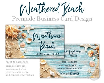 Beach Business Card Design with Rustic Wood Background Sand Seashells Rope and Starfish, Digital Files or Printed Cards