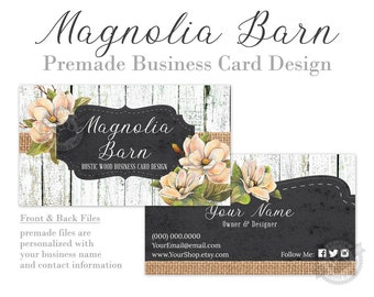 Magnolia Business Card Design with Chalkboard Frame, Rustic White Wood and Burlap Shabby Chic Country Farmhouse, Digital Files or Printing