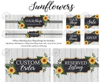 Sunflowers Shop Branding Kit for Etsy Stores with Big and Mini Banners, Icons and Listing Images, Rustic Wood and Gingham Shop Design Set