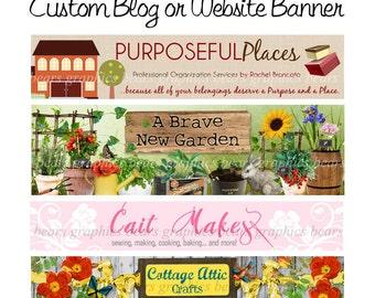 Custom Website Header, Custom Blog Banner, WordPress Header, Blogger Header, Custom Graphic Design