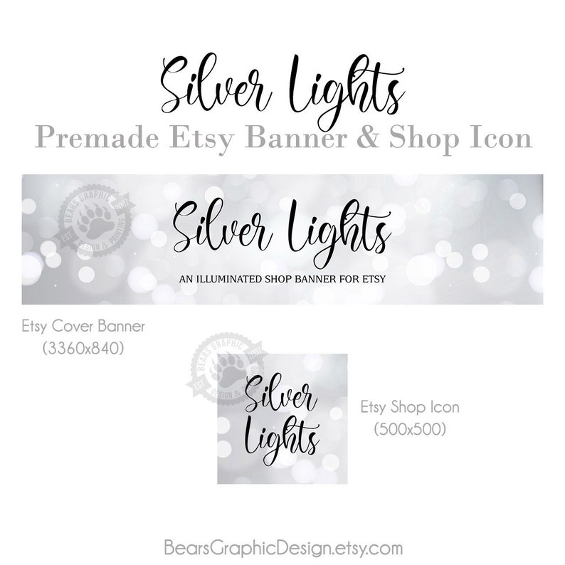 Silver Shop Banner and Icon Set for Etsy Stores with a Grey image 0