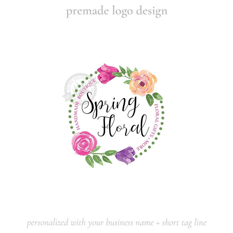 Premade Logo Design with Tulips and Roses Country Shabby Chic image 0