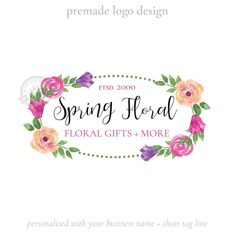 Logo Design with Watercolor Tulips and Roses Country Shabby image 0