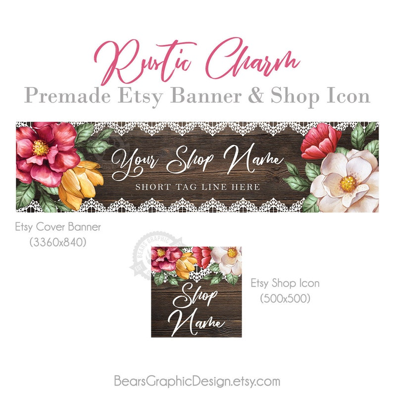 Shop Banner Set with Etsy Cover Photo and Icon Dark Rustic image 0