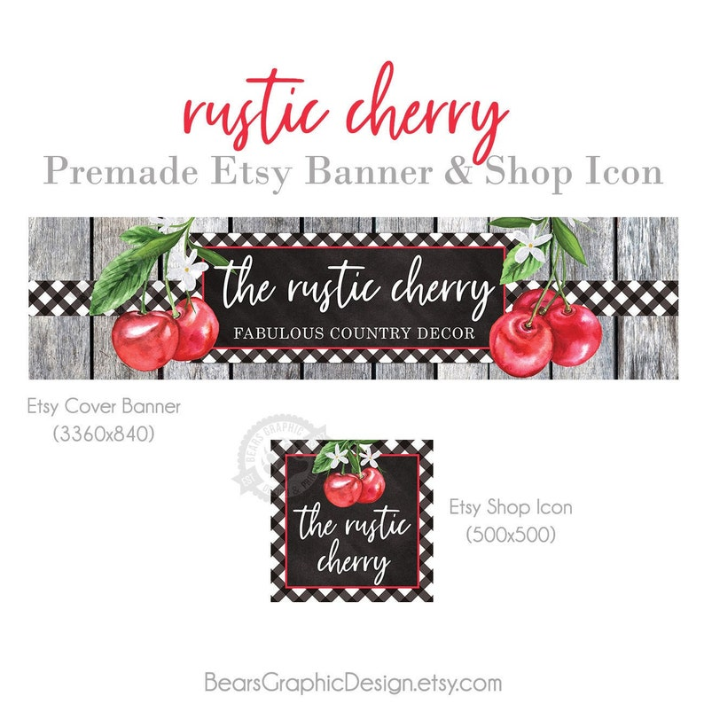 Etsy Shop Cover Banner and Icon Set with Cherries Rustic Wood image 0