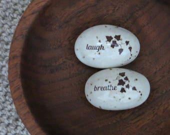 Pebble Rattles Set of 2 - Handmade Stoneware Pottery Ceramic - White - Ivy