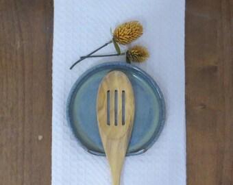 Spoon Rest - Handmade Stoneware Ceramic Pottery - Icy Blue